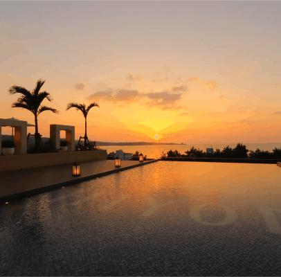 ホテルインフィニティからの夕陽